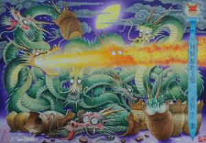 九頭龍酩酊之図 アクリル画 タムラゲン ( タムラ・ゲン ) 田村元 ゲンさん SUNABAギャラリー Gen Tamura painter artist