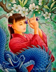 《五果の李》 アクリル画 タムラゲン ( タムラ・ゲン ) 田村元 画家 リキテックス 和紙 SUNABAギャラリー Plum of the Five Fruits by Gen Tamura acrylic painting Liquitex