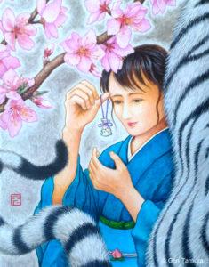 《五果の桃》 アクリル画 タムラゲン ( タムラ・ゲン ) 田村元 画家 リキテックス 和紙 SUNABAギャラリー Peach of the Five Fruits by Gen Tamura acrylic painting Liquitex