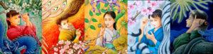 SUNABAギャラリー 「花のいろは」 出展作 『五果の連画』 タムラゲン ( 田村元 )